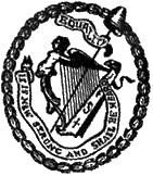 Badge of the United Irishmen, link to website for 'A Rebel Hand'