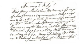 Photo: Macquarie's diary entry about Nicholas and his gang