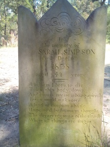 Sarah Simpson's grave. Photo by Michael Wood
