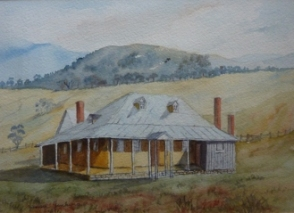 Old watercolour of Moyne Farm, Little Hartley, by Yvonne Jenkins