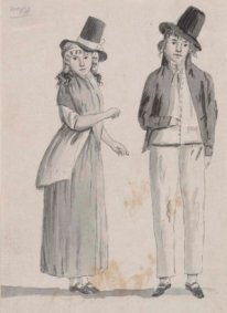 Drawing of Australian convict woman and man