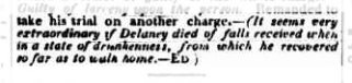Edward Smith Hall's comment in the Monitor on the trial of John Kennedy for murdering Nicholas Delaney