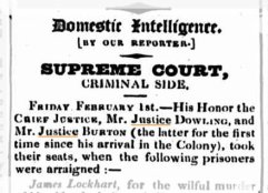 Report in the Sydney Monitor of Judge William Burton's first trial, February 1833