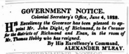 John Dight appointed coroner, Sydney Monitor, June 7 1828