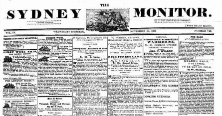 Top of the front page of the Sydney Monitor, November 15th 1828
