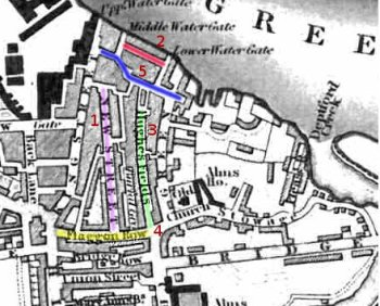 Deptford from Crutchley's 1833 map, with streets coloured and notes