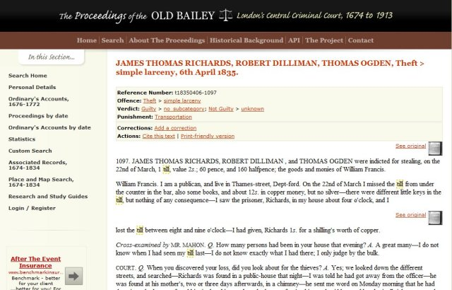 Old Bailey Online - the trial of James Thomas Richards, Robert Dilliman and Thomas Ogden