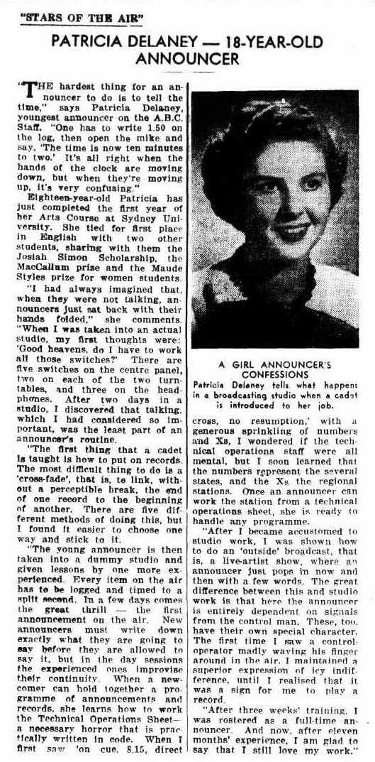 Newspaper article about Patricia Delaney, ABC's youngest announcer