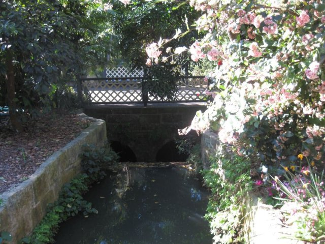 Macquarie Culvert in Sydney's Royal Botanic Garden, showing both bridges. © Jeff Farrar, 2013
