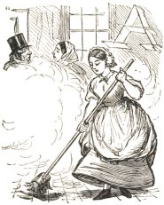 19th century woman sweeping, a cloud of dust rising
