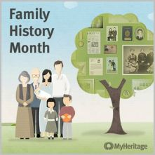 MyHeritage National Family History Month logo