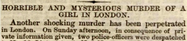 Horrible and mysterious murder! Newspaper headline