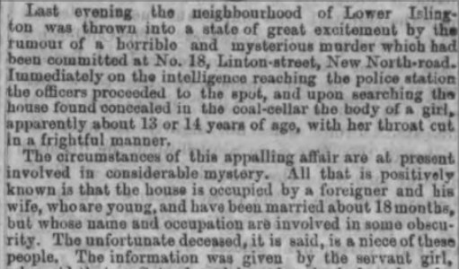 Newspaper report of the 'Islington murder'