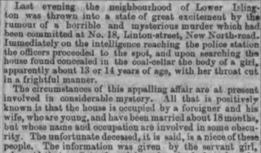 Newspaper report of the 'Islington murder'