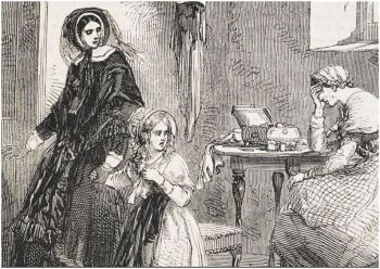 Penny Blood illustration: a woman dressed in black takes a little girl away from a weeping woman