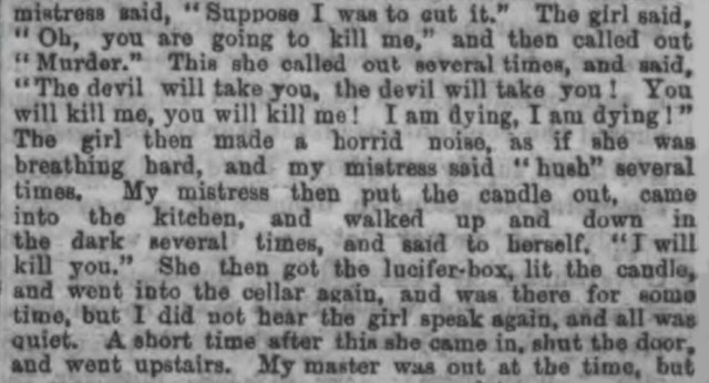 Newspaper report describing the murder of Celestina Christmas