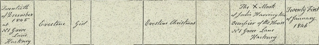 Copy of Celestina Christmas's birth certificate