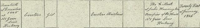 Copy of Celestina Christmas's birth certificate