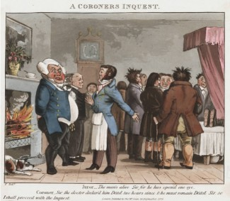 Cruikshank cartoon, 1826: Inquest in a house (©Lewis Walpole Library, via London Lives)