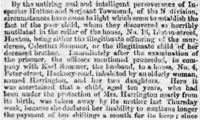 Leeds Mercury newspaper report of the police visit to Julia Harrington