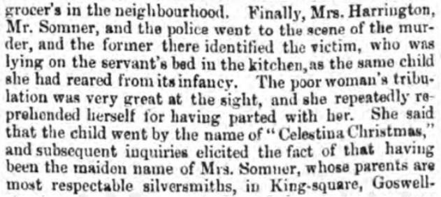 Chelmsford Chronicle repoert of Julia Harrington's distress at seeing Celestina's body