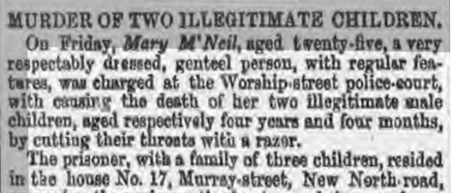 Lloyd's Weekly report about Mary McNeil, who killed her children
