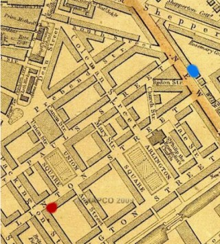 North Pole Tavern, near Linton St, shown on Weller's 1868 map. The inquest into Celestina Christmas's murder took place here