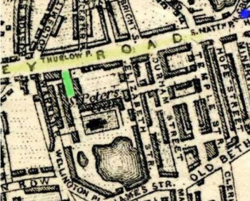 Old map of Peter St in 1857 (green), just off Hackney Rd (yellow). Their last house is marked blue