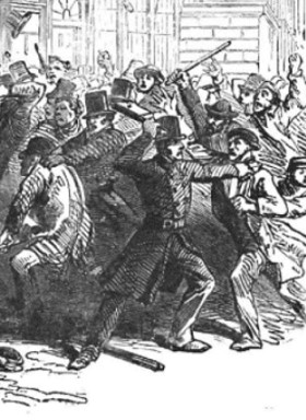 London riot, 1851: policemen fight mob