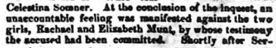Newspaper report of an angry mob after the inquest into the murder of Celestina Christmas