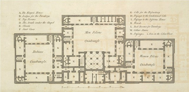 Plan of the interior of Newgate, 1800