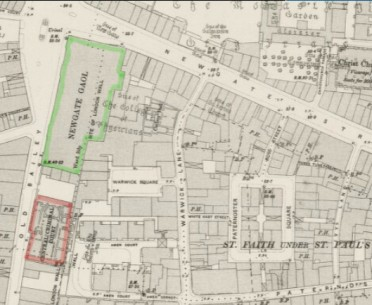 Map showing Newgate Prison in the 1890s