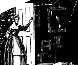 Broadside detail: a woman opens a door into a dark room