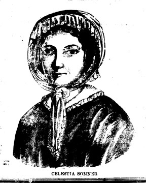 Portrait of Celestina Sommer ('Celestia Somner') from a broadside