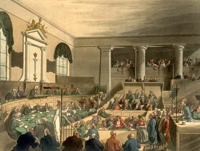 Trial at the Old Bailey (Central Criminal Court), 1808, hand-coloured print