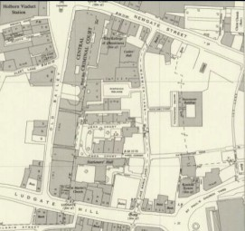 OS map of the Old Bailey, 1953