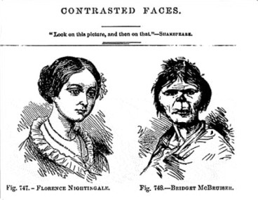 'Contrasted faces', a picture showing the ideal woman and an Irish one