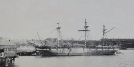 Hougoumont, the last convict ship sent to Australia. Old photo
