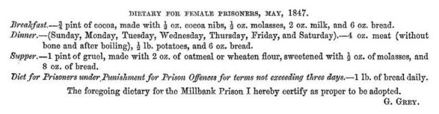 Millbank Prison: what female prisoners ate
