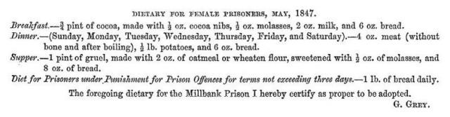 Millbank Prison: what female prisoners ate