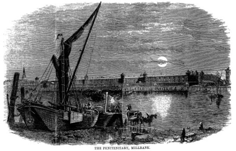 Millbank Prison from the Thames; old engraving