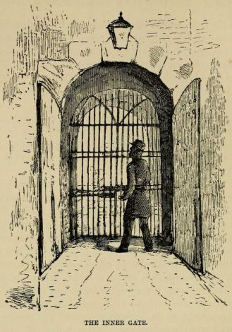 Engraving of a guard at the inner gate, Millbank Prison