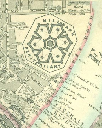 Map showing Millbank Prison, London