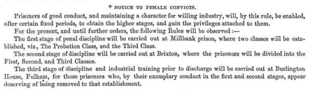 A notice to female convicts, pinned to the wall at Millbank Prison