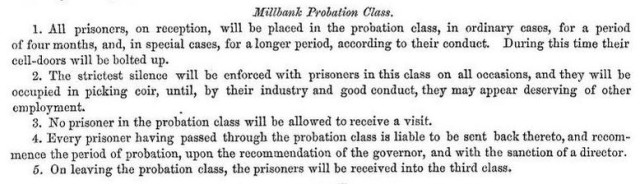 Millbank Prison's rules for the 'probation class' of women convicts