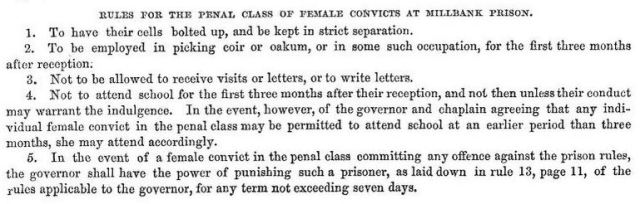 Rules for the penal class of female convicts at Millbank Prison