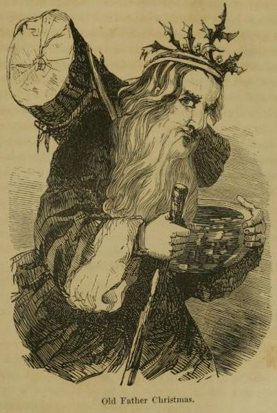 Picture of Old Father Christmas with a holly crown, yule log and wassail bowl