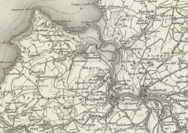 Old map of St Dogmael's, Ordnance Survey, 1885-1900
