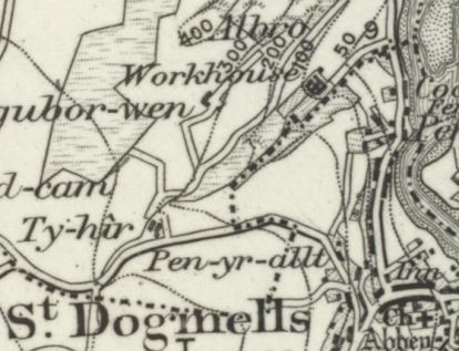Close-up of old map showing Cardigan Union workhouse, St Dogmael's