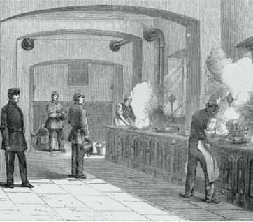 Engraving of Holloway Prison kitchen